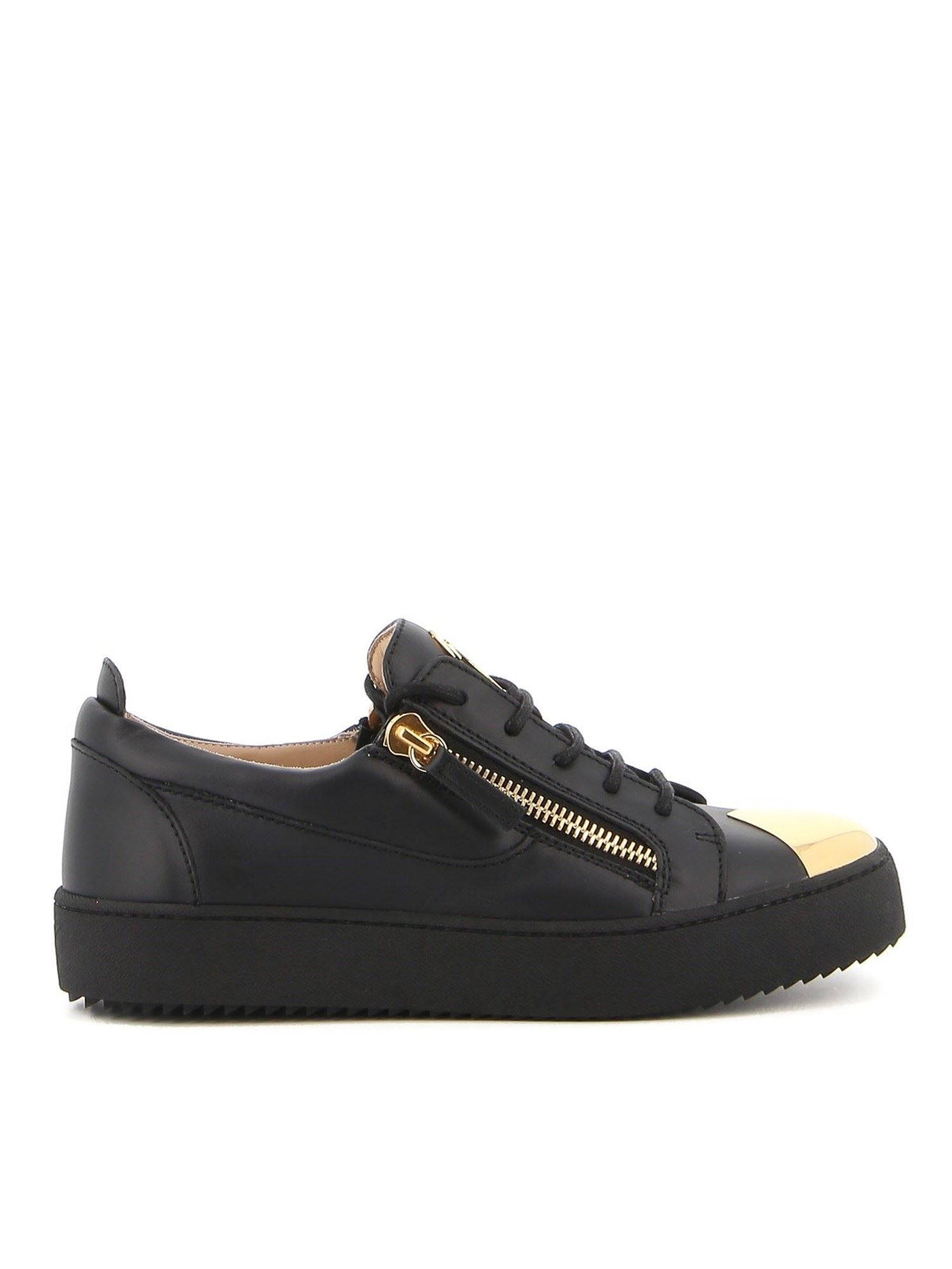 GIUSEPPE ZANOTTI GIUSEPPE ZANOTTI MAY LONDON LEATHER SNEAKERS IN BLACK