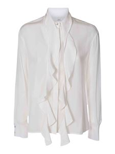 Barba - Silk shirt with ribbon in white