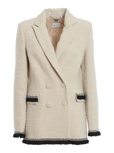 be Blumarine - Bouclé wool blend blazer in cream colour