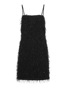 be Blumarine - Ostrich feathers effect fringed dress in black in black