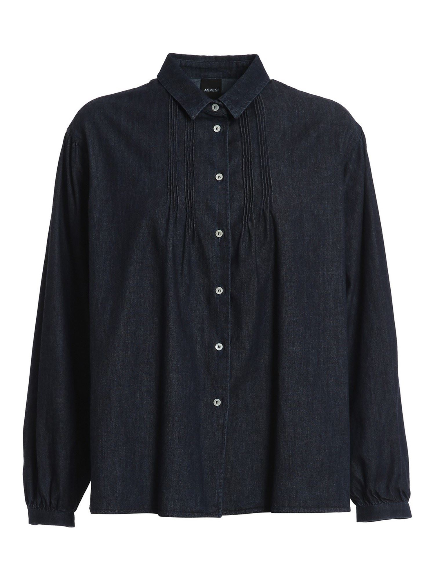 Aspesi GATHERED DENIM SHIRT IN BLUE