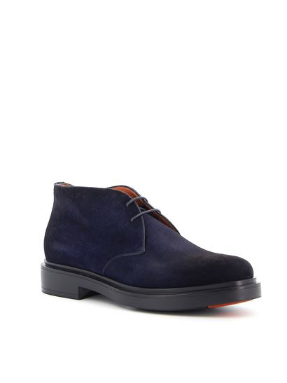 Santoni - Suede leather desert boots in blue