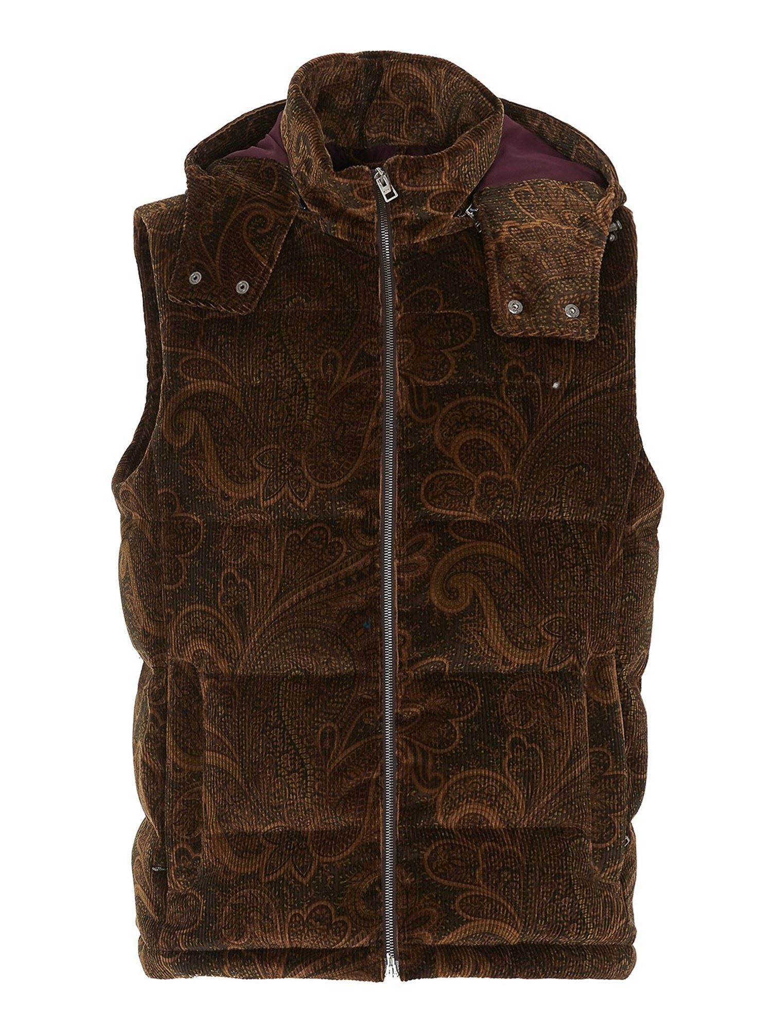 Etro Cottons HOODED CORDUROY WAISTCOAT IN BROWN