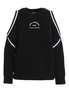 Karl Lagerfeld - Cut-out shoulders sweatshirt in black