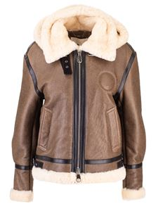 Chloé - Aviator jacket in leather and shearling in brown