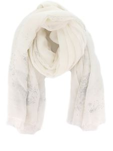 Avant Toi - Embellished scarf in white