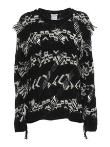 Parosh - Inlaid patterned sweater in black