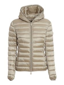 Save the duck - Iris nylon hooded puffer jacket in beige