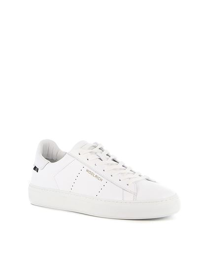 Woolrich - Hammered leather heel tab sneakers in white