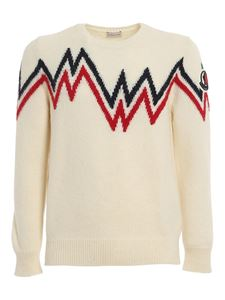 Moncler - Wool blend crewneck sweater in cream colour