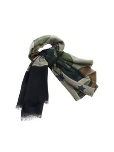 D'Aniello - Camouflage print foulard in shades of green