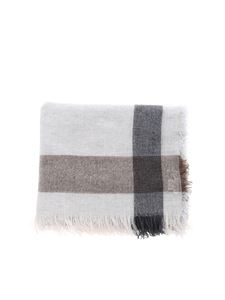 D'Aniello - Fringes scarf in melange light grey