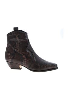 Parosh - Reptile print ankle boots in shades of brown