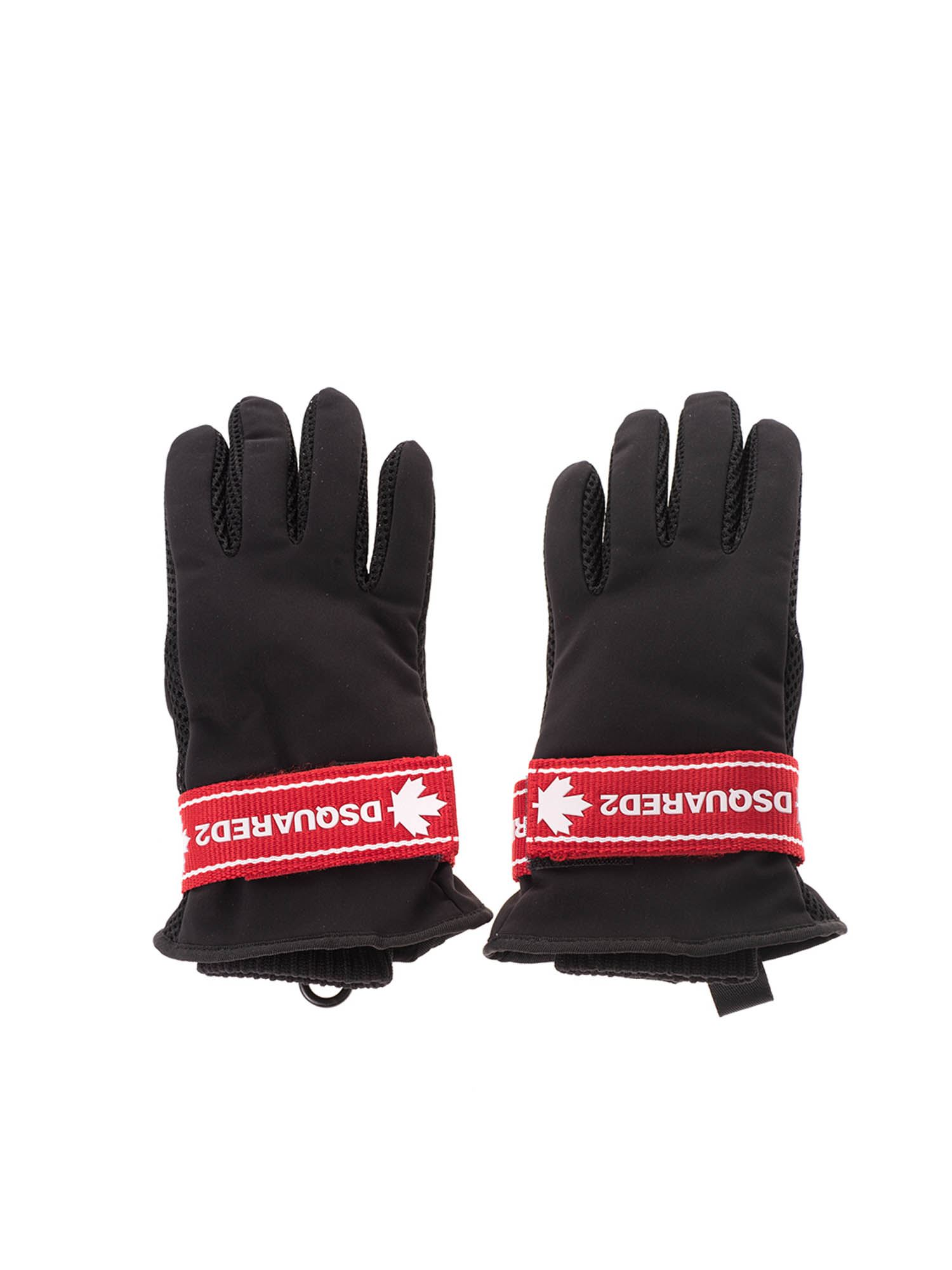 Dsquared2 LOGO TAPE GLOVES IN BLACK AND RED