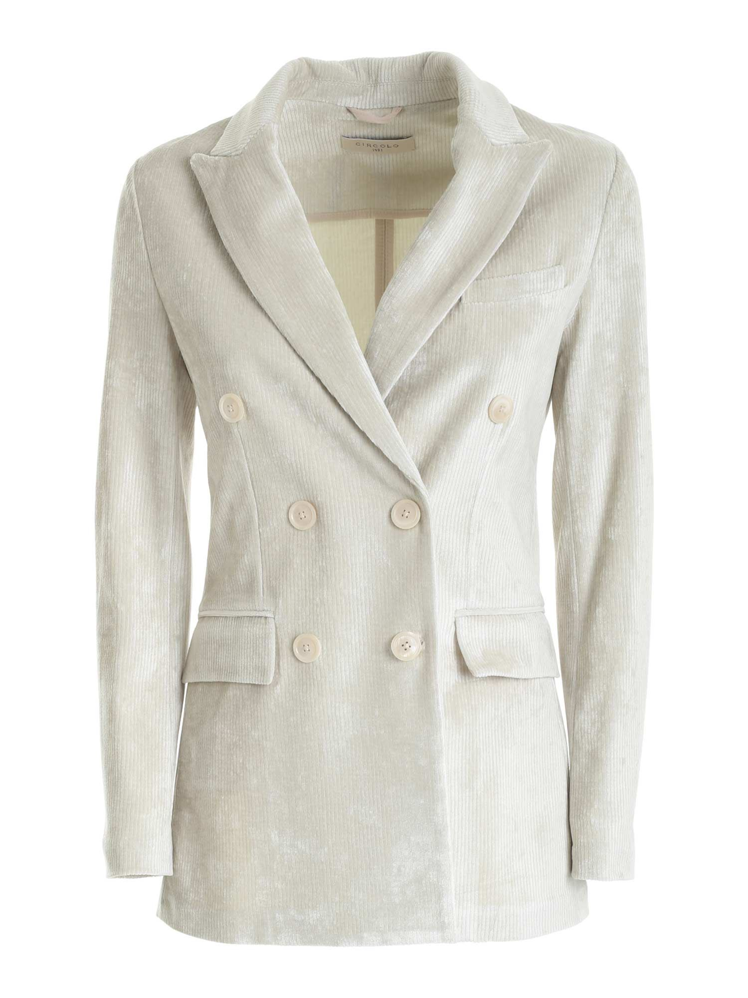 Circolo 1901 CORDUROY DOUBLE-BREASTED JACKET IN BEIGE