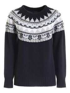 Lorena Antoniazzi - Contrasting embroidery pullover in dark blue