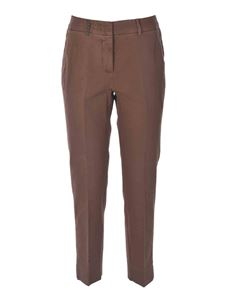 Peserico - Pants with leather detail in brown