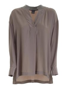 Lorena Antoniazzi - Knitted collar blouse in mud color
