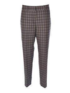 Peserico - Checked pants in brown and grey