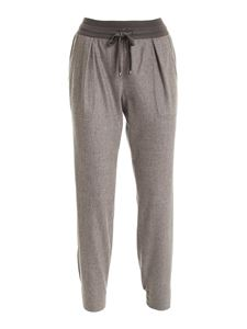 Lorena Antoniazzi - Drawstring wool pants in brown