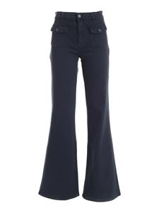 Parosh - Patch pockets pants in blue