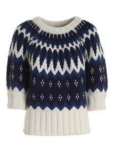 Parosh - Embroidered pullover in blue and ivory color