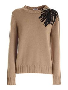 Parosh - Embroidery pullover in camel color
