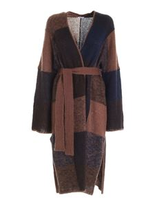 Parosh - Knitted coat blue and brown