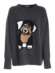 Parosh - Dog inlay pullover in grey