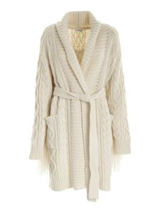 Parosh - Fringes coat in ivory color