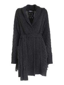 Parosh - Fringes coat in anthracite color