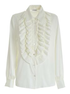 Parosh - Pleated shirt in ivory color