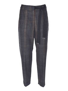 Peserico - Checked pants in grey and beige