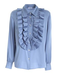 Parosh - Pleats shirt in pale blue color
