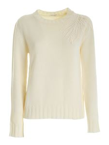 Parosh - Embroidery pullover in ivory color