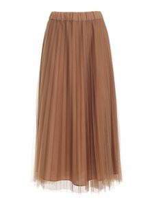 Parosh - Pleated tulle skirt in camel color