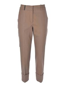 Peserico - Pants with leather detail in beige