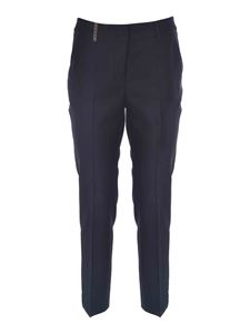 Peserico - Pants with leather detail in black