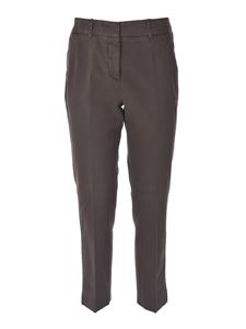 Peserico - Pants with leather detail in dark brown
