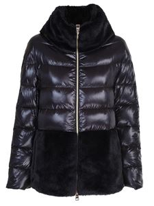 Herno - Faux fur down jacket in black
