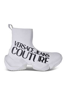Versace Jeans Couture - Knitted sneakers with logo in white