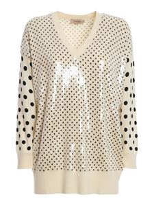 Twin-Set - Embellished polka dot knitted sweater in cream colour