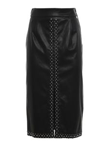 Twin-Set - Studded faux leather longuette skirt in black
