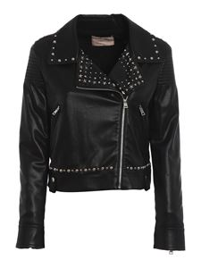 Twin-Set - Studded faux leather biker jacket in black
