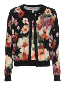 Twin-Set - Chiné floral printed twinset in black