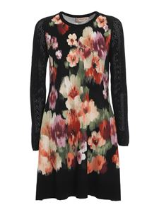 Twin-Set - Floral patterned knitted dress in black