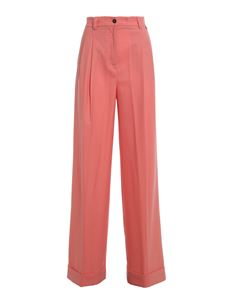Twin-Set - Wool blend palazzo trousers in pink