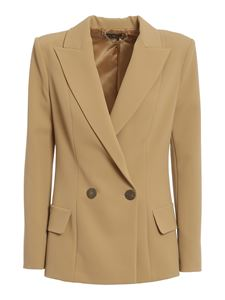 Elisabetta Franchi - Double crêpe blazer in camel colour