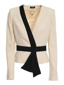 Elisabetta Franchi - Bow trim two-tone crêpe jacket in cream colour