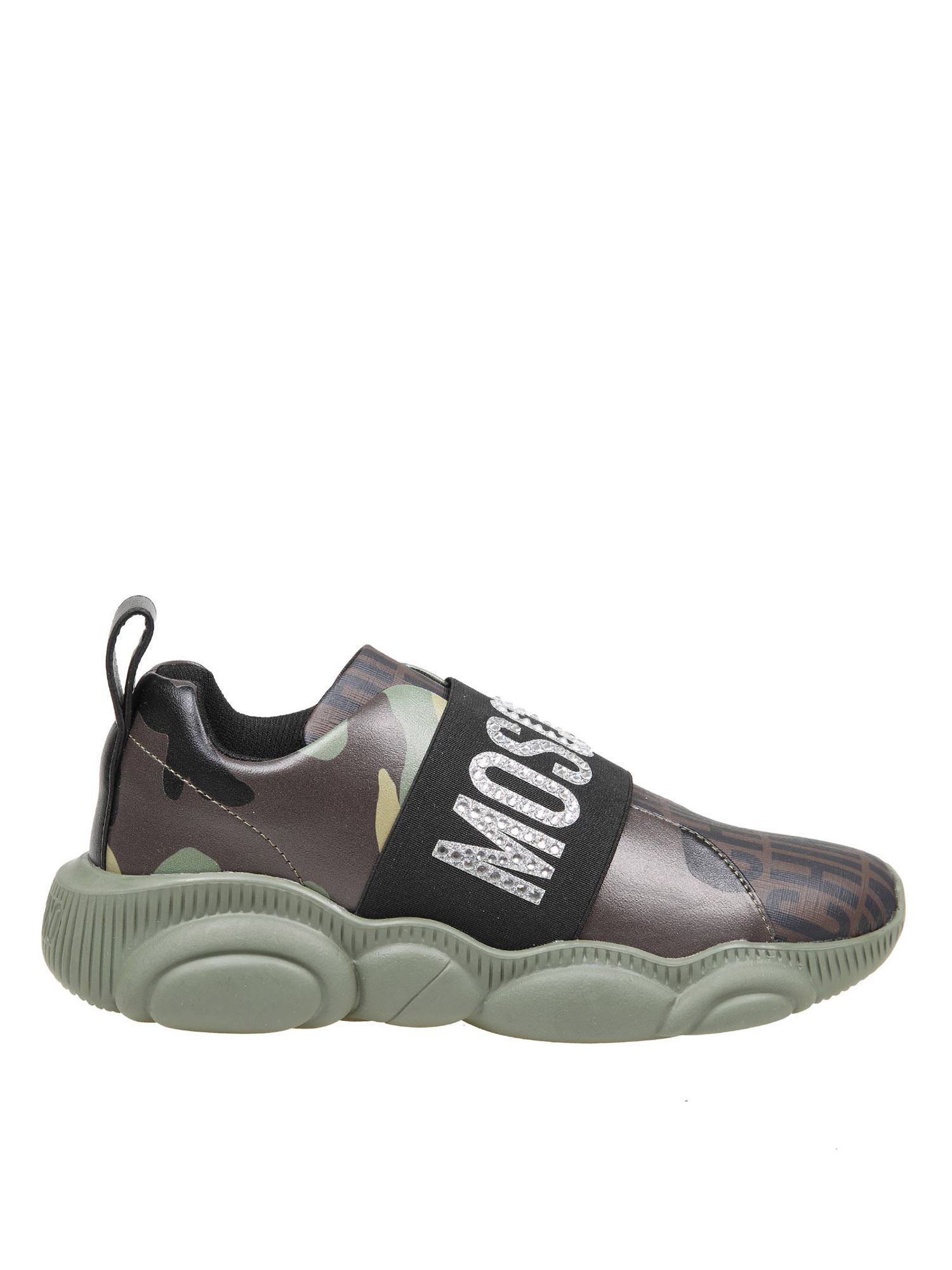 Moschino TEDDY LOST FOUND SNEAKERS IN BROWN